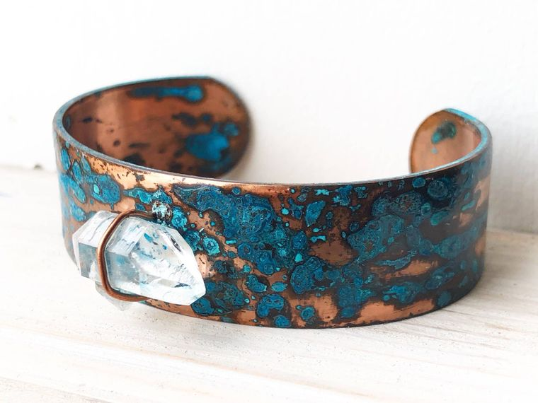 Crystal Cave Patina Cuff Bracelet
