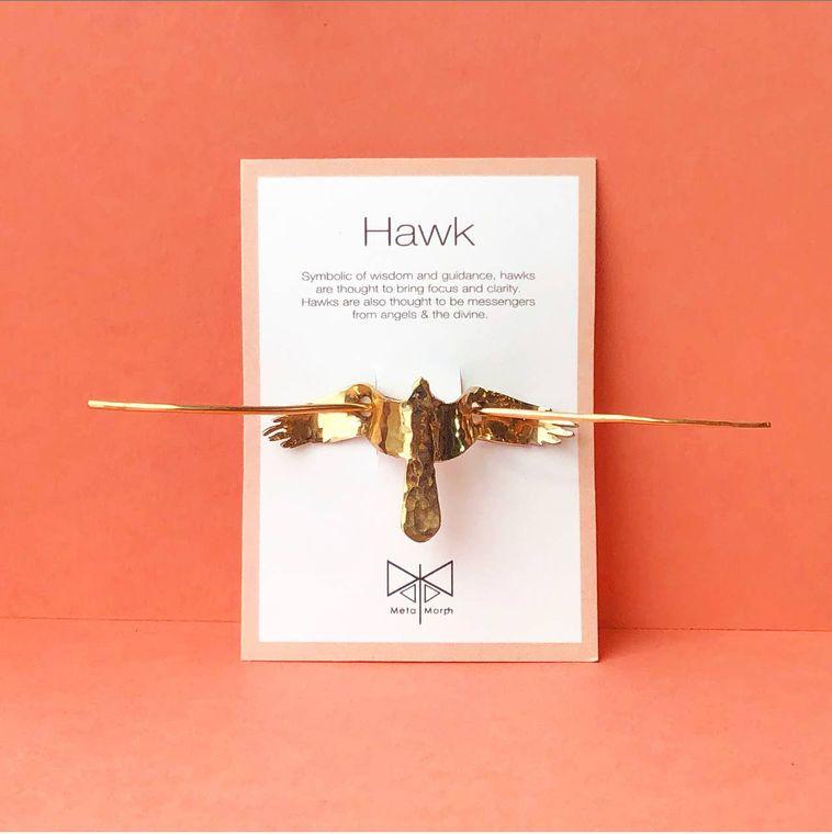 Bronze Hawk Hair Pin