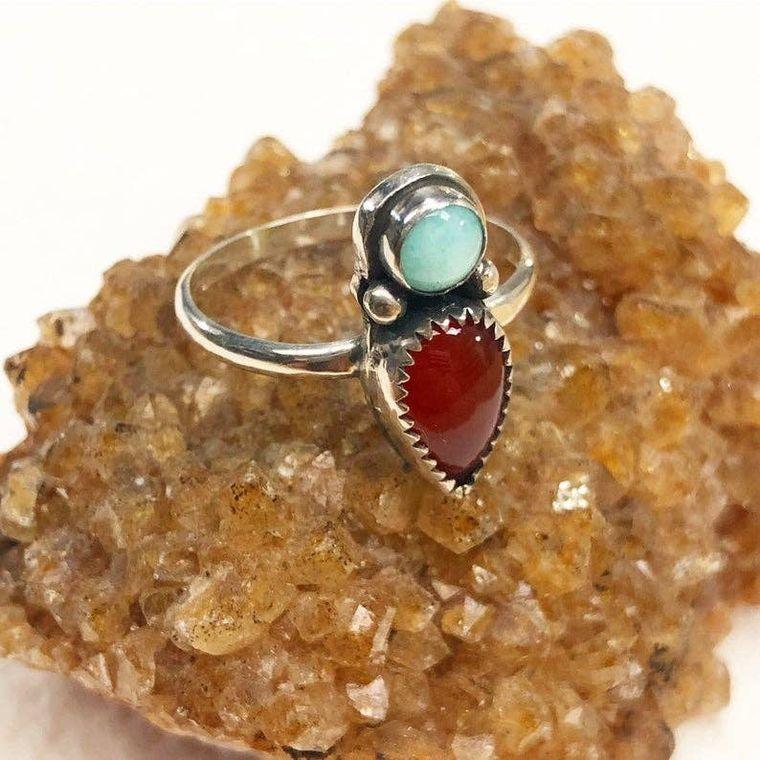 Carnelian & Amazonite Ring
