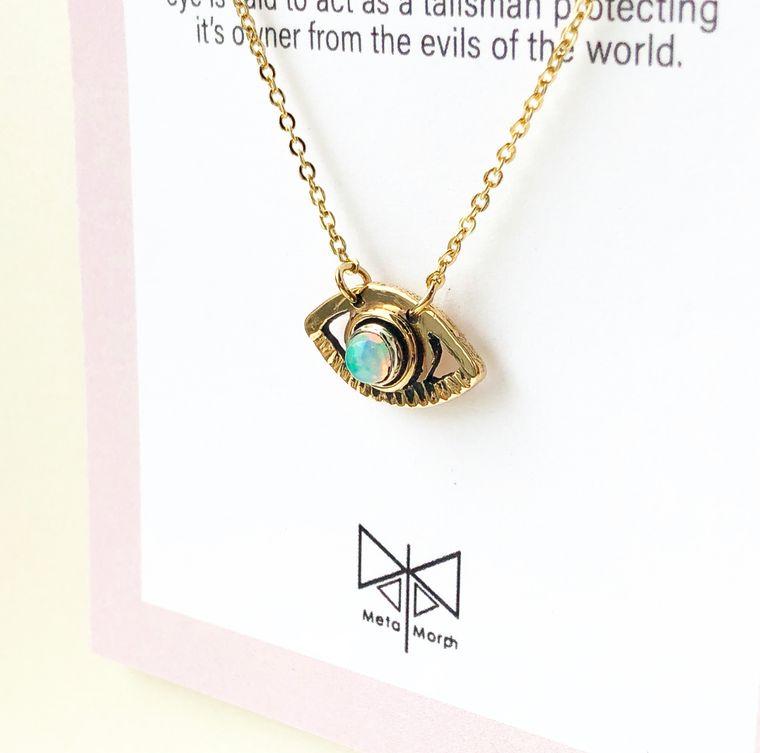 Opal Evil Eye Necklace