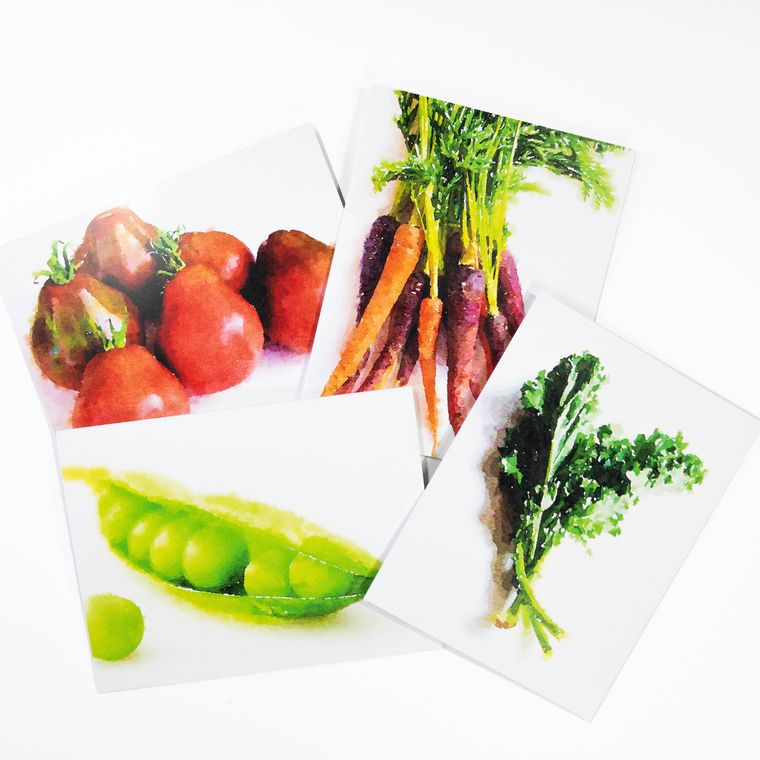 Watercolor Vegetable Greeting Cards - Set of 4