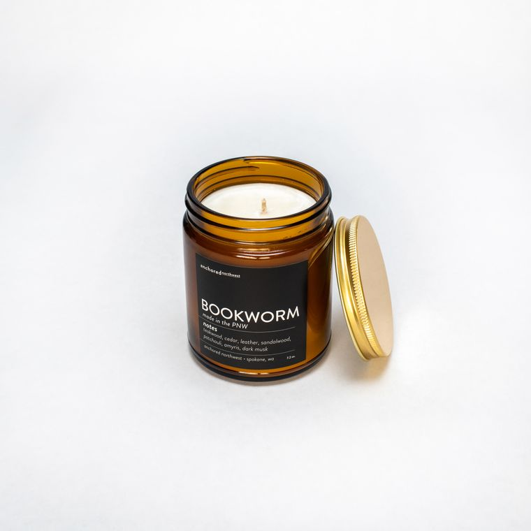 Bookworm - Amber Jar w/ Cotton Wick