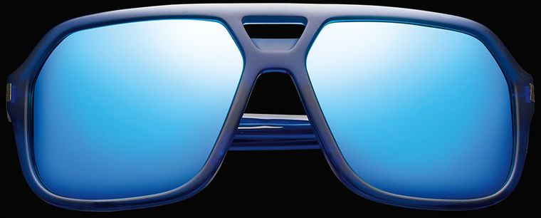 IVI VISION ~ HUNTER ~ MATTE MIDWAY BLUE - ANTIQUE BRASS / PACIFIC BLUE FLASH LENS