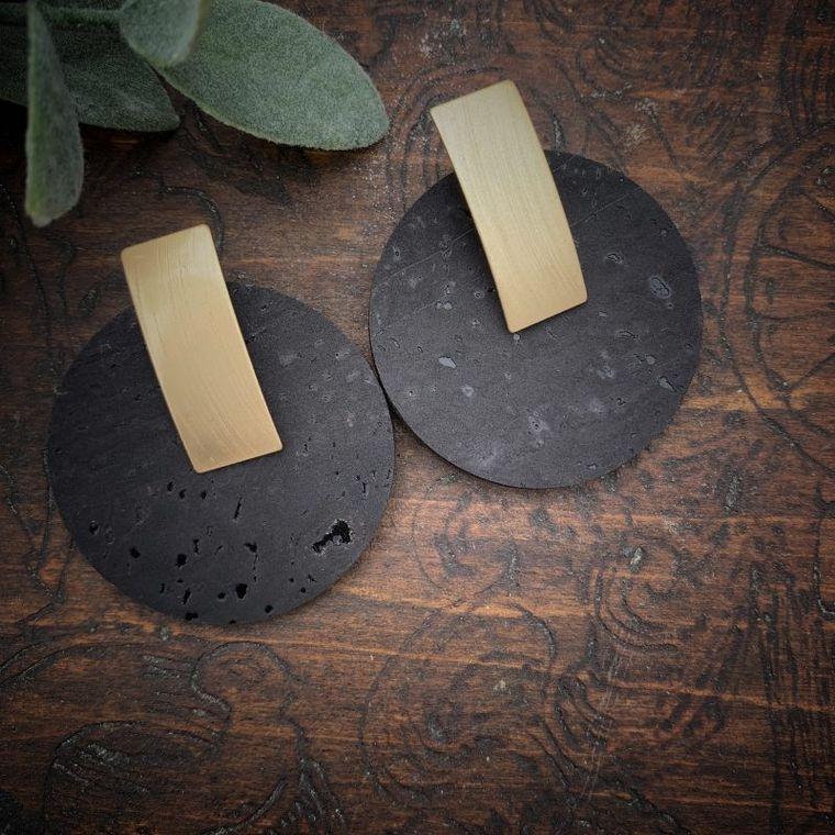 Boho Black & Gold Circle Cork Earrings - Cork Collection