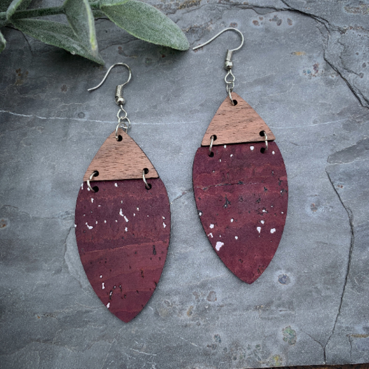 Boho Wine Cork & Walnut Wood Earrings with Silver Accents - Cork Collection