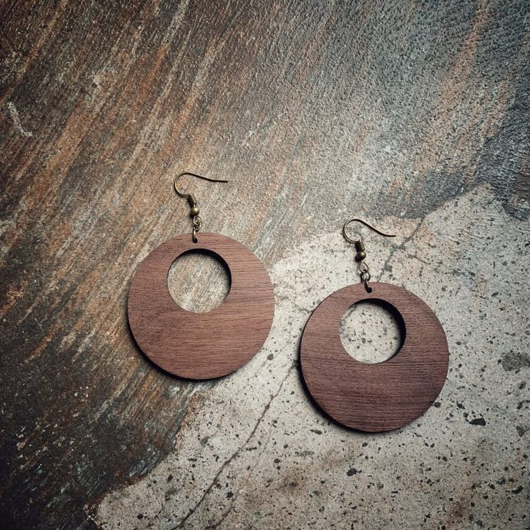 Big Round Hoop Walnut Wood Earrings, Lightweight - Classic Wood Collection