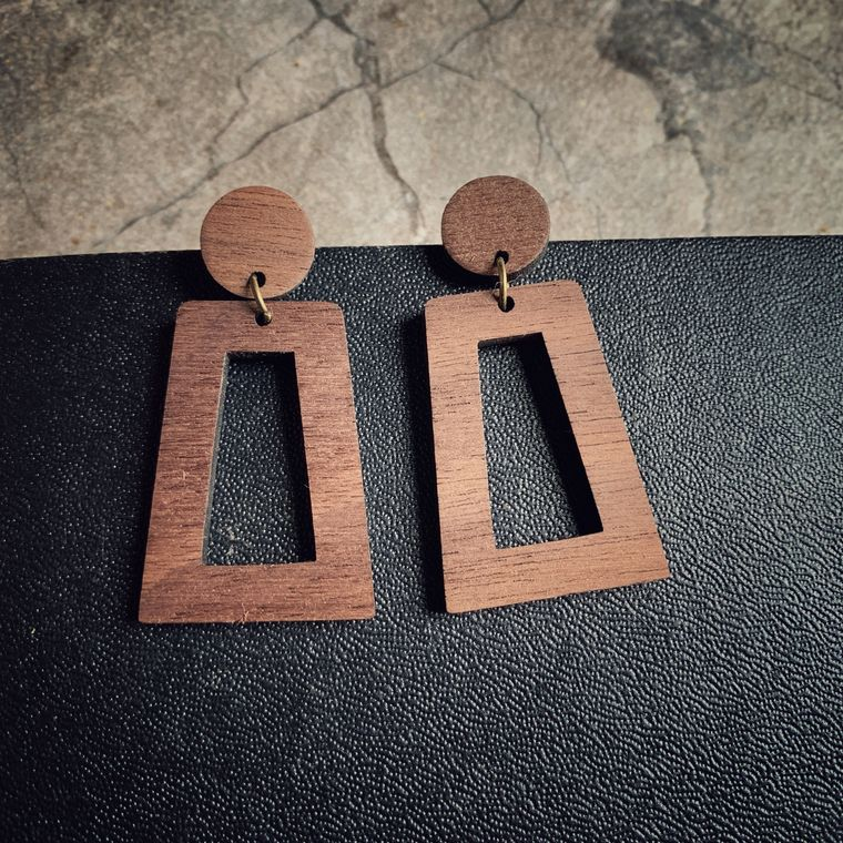 Walnut Wood Dangle Stud Earrings - Lightweight - Dangle Stud Collection