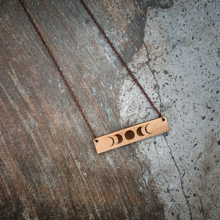 Bohemian Moon Phases Wood Bar Necklace, Minimalist Jewelry - One-of-a-Kind Collection