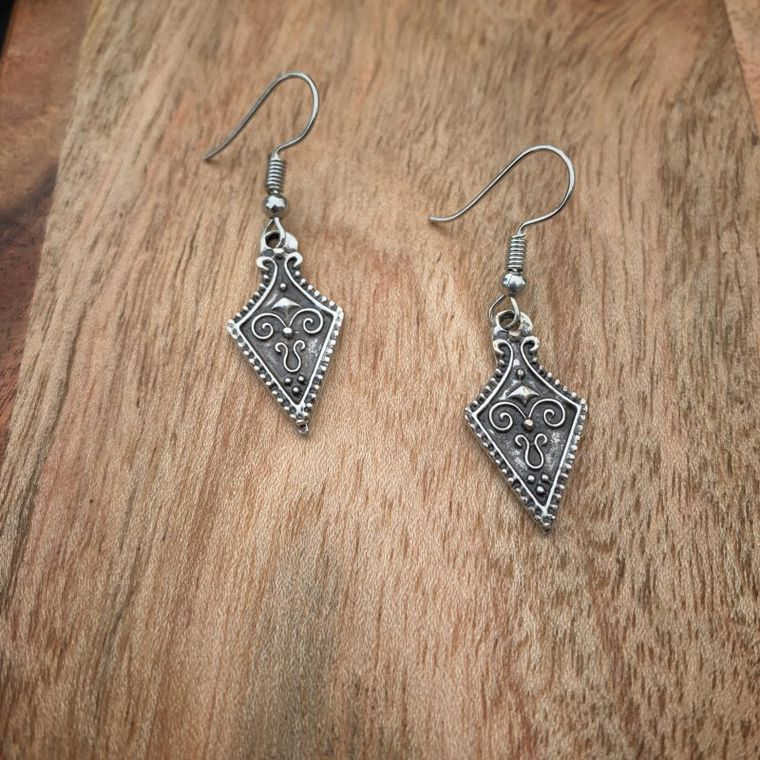 Small Antique Silver Earrings, Boho, Minimalist Earrings - Metal Collection