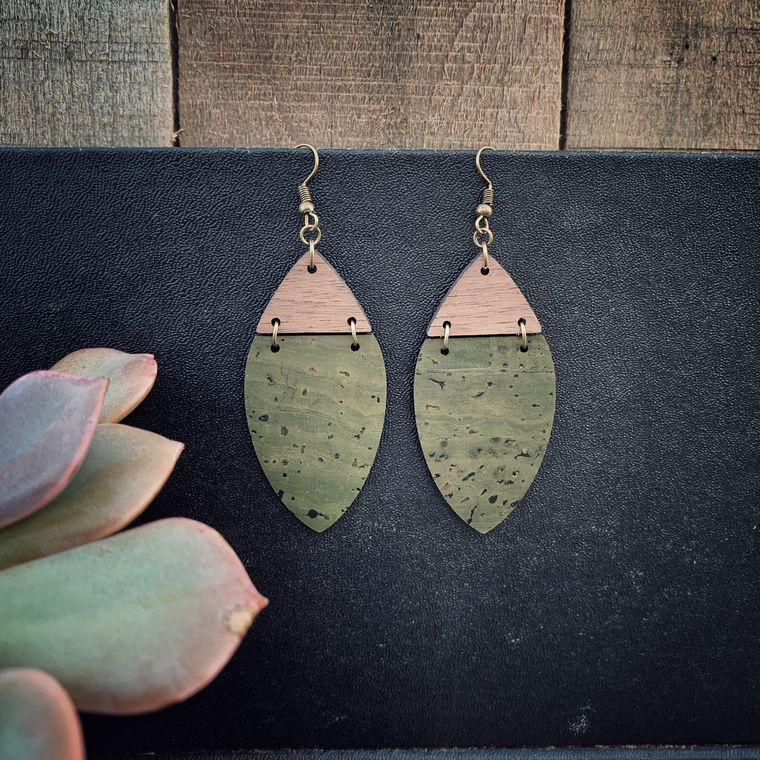 Boho Olive Green Cork & Walnut Wood Earrings - Cork Collection