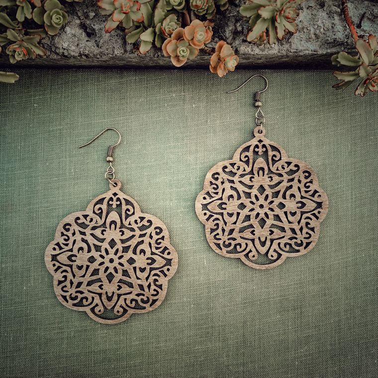 Bohemian Birch Wood Medallion Earrings, Natural - Classic Wood Collection