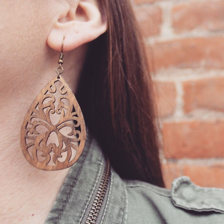 Bohemian Teardrop Birch Wood Lightweight Earrings - Classic Wood Collection