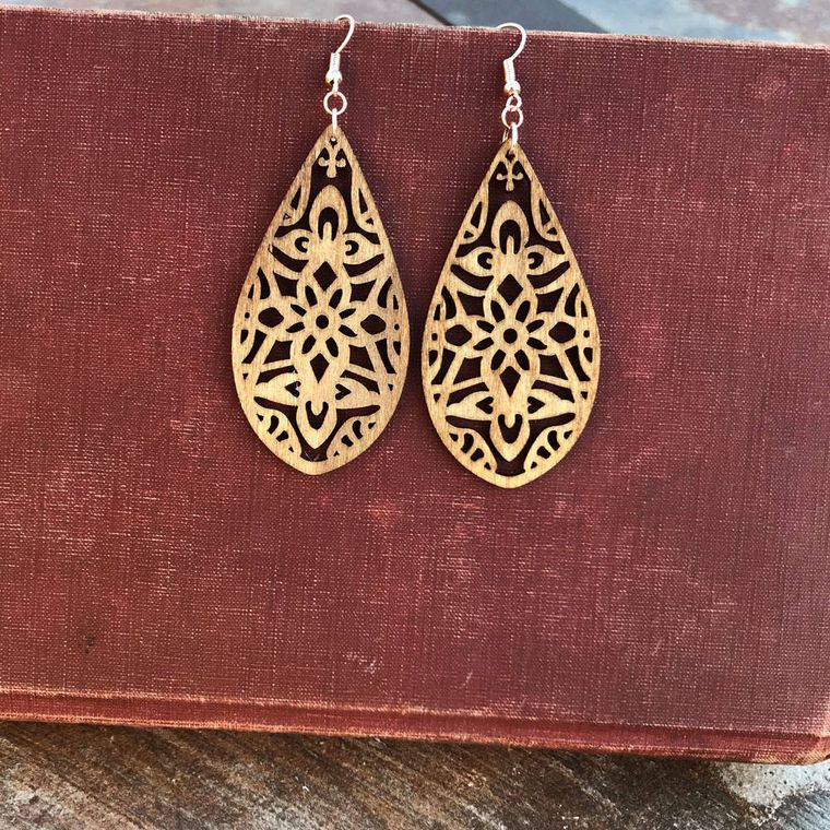 Long Boho Birch Wood Earrings, Natural - Classic Wood Collection