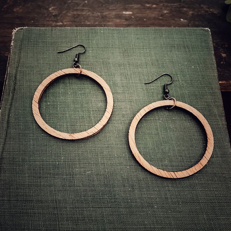Wood Hoop Earrings, Natural, Boho, Minimalist Earrings - Classic Wood Collection