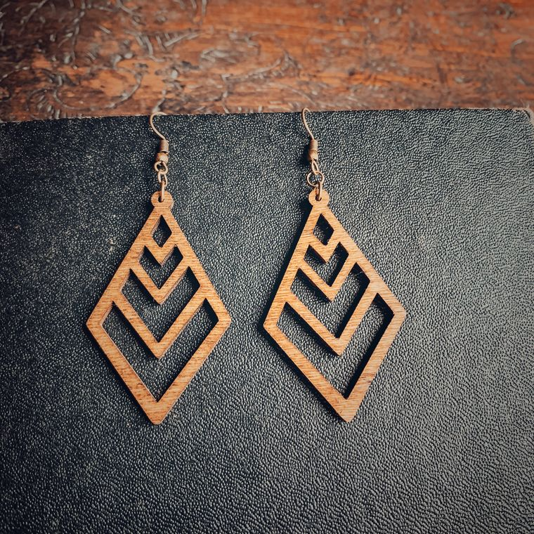 Long Diamond Chevron Birchwood Earrings, Natural, Boho - Classic Wood Collection