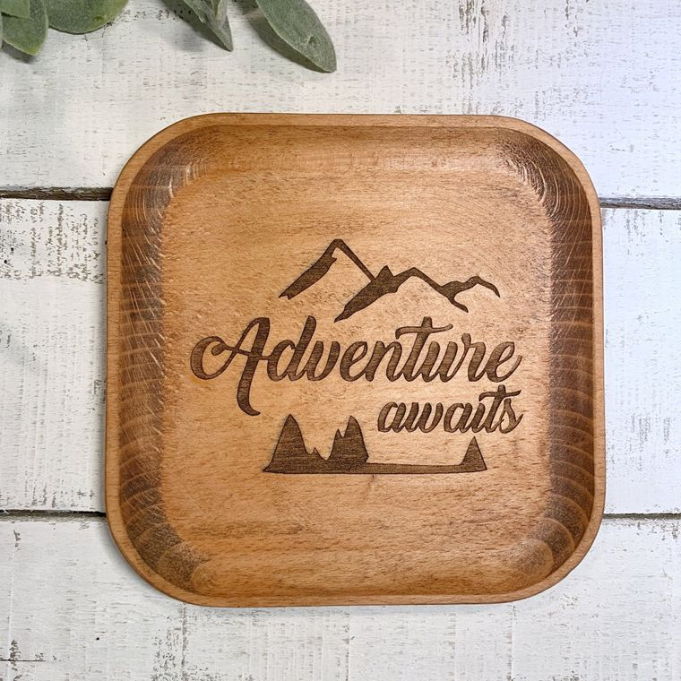 Boho Decor, Square Adventure Awaits Wood Bowl laser design - Jewelry Dish Collection