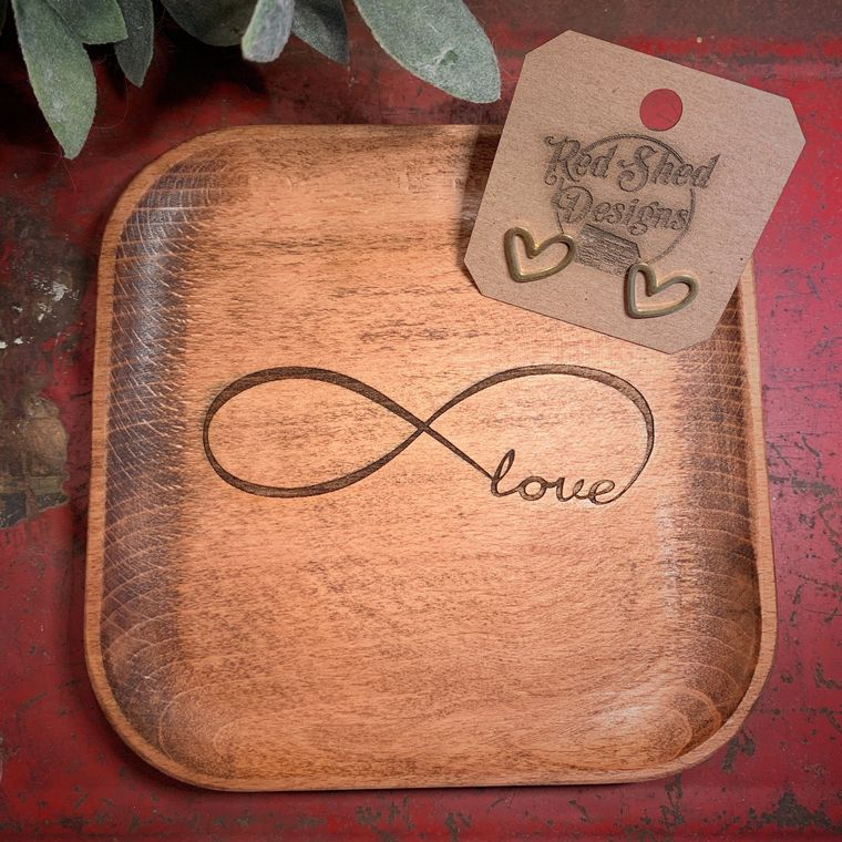 Boho Decor, Square Infinity Love Wood Bowl laser design, Jewelry Dish Collection