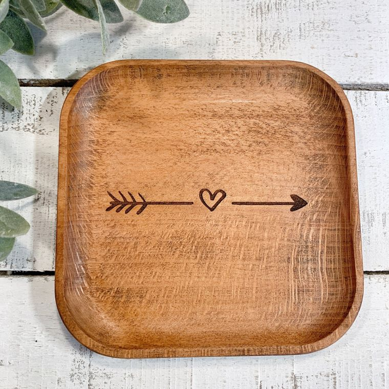 Boho Decor, Square Arrow with Heart Wood Bowl laser design, Jewelry Dish Collection