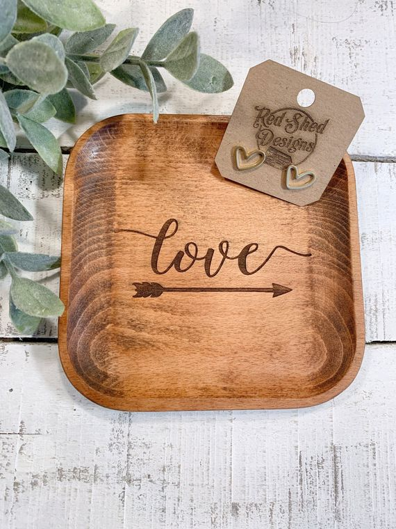 Boho Decor, Square Love with Arrow Wood Bowl laser design, Jewelry Dish Collection