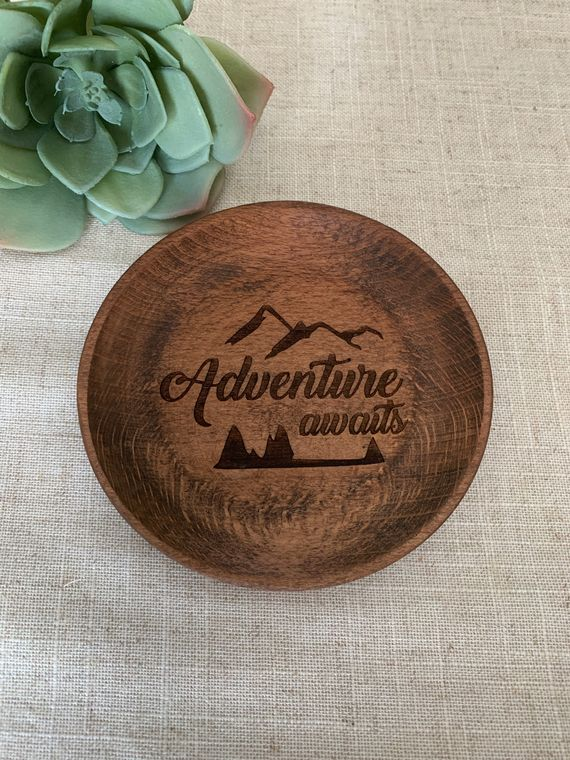 Boho Decor, Round Adventure Awaits Wood Bowl laser design, Jewelry Dish Collection