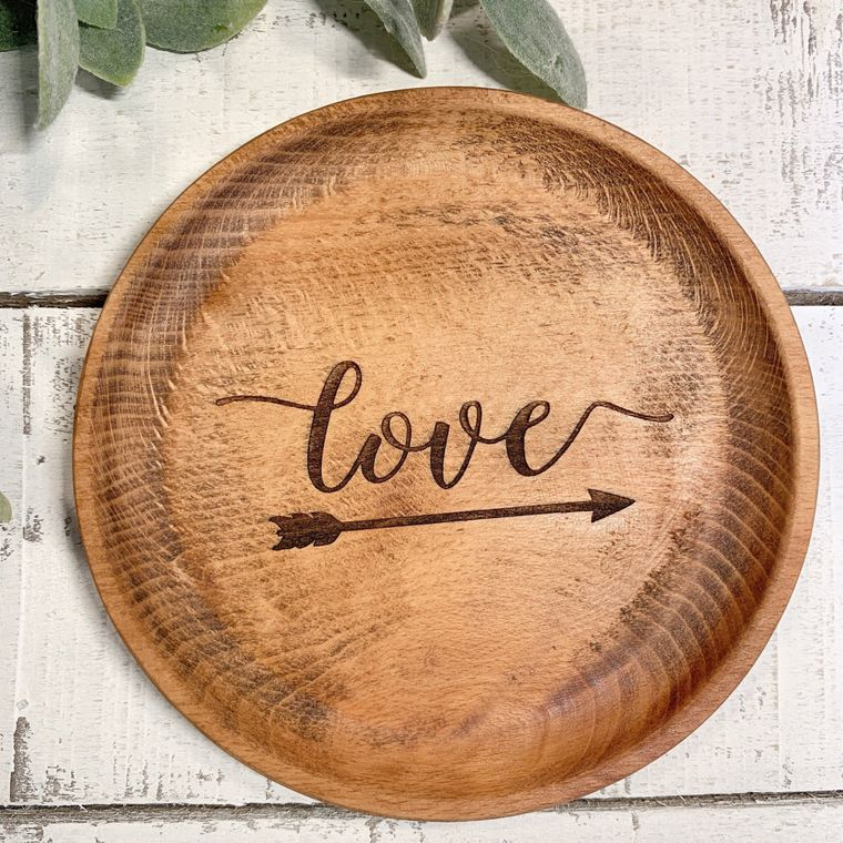Boho Decor, Round Love with Arrow Wood Bowl laser design, Jewelry Dish Collection