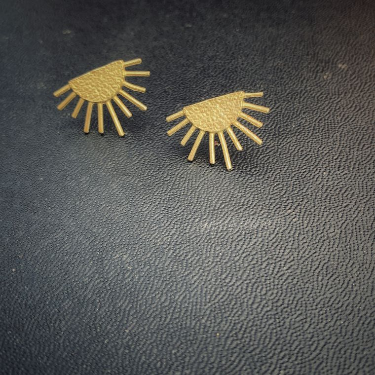 Sunburst Brass Boho Stud Earrings, Minimalist - Stud Collection