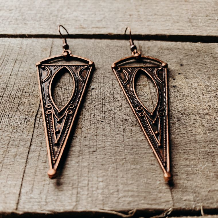 Antique Copper Spike Earrings, Boho, Minimalist Earrings - Metal Collection