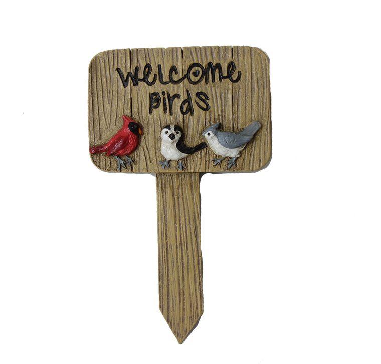 """5"""" """"Welcome Birds"""" Garden Sign, 1pc"""