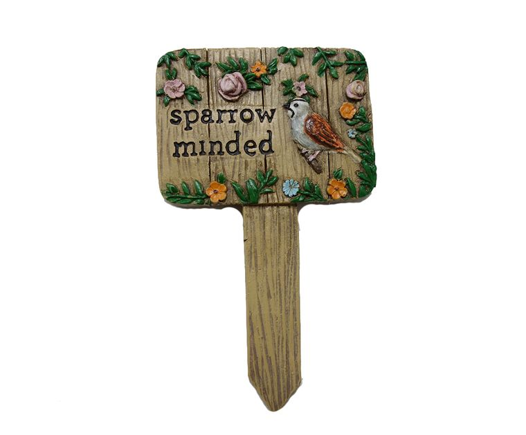 "5"" ""Sparrow  Minded"" Garden Sign, 1pc"