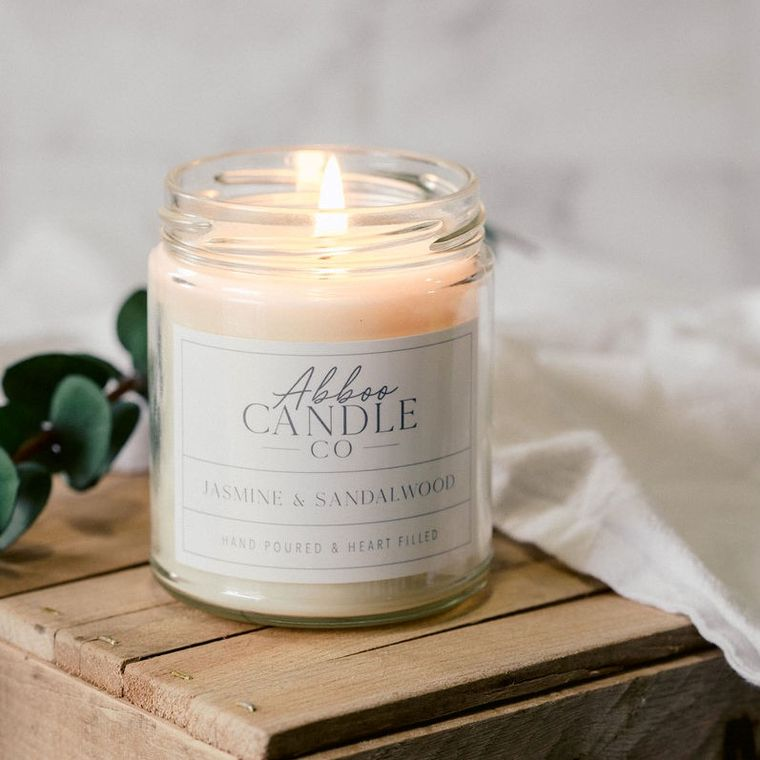 Jasmine & Sandalwood Soy Candle by Abboo Candle Co
