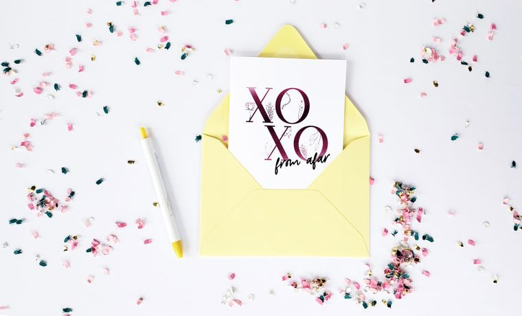 XOXO From Afar Love and Friendship Greeting Card