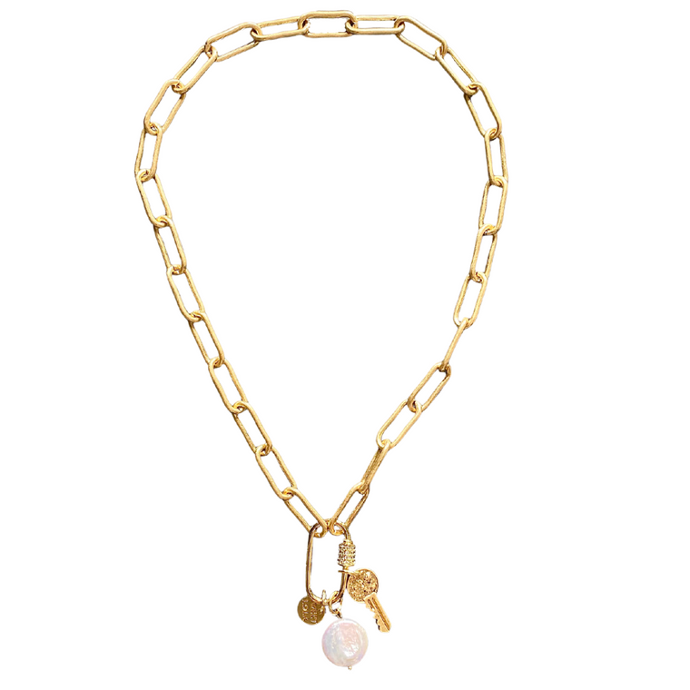 Trini-Gold link with key and fresh water coin pearl necklace
