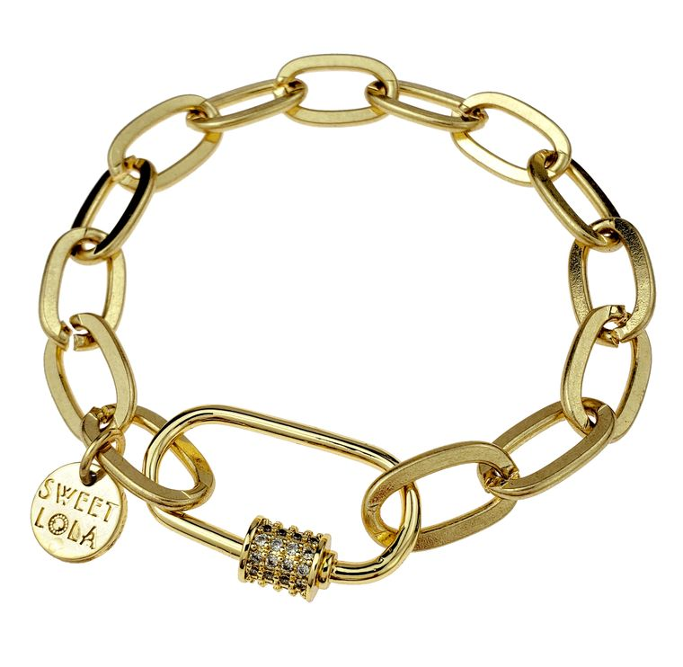Eldora - Gold chain link with clear crystals bracelet