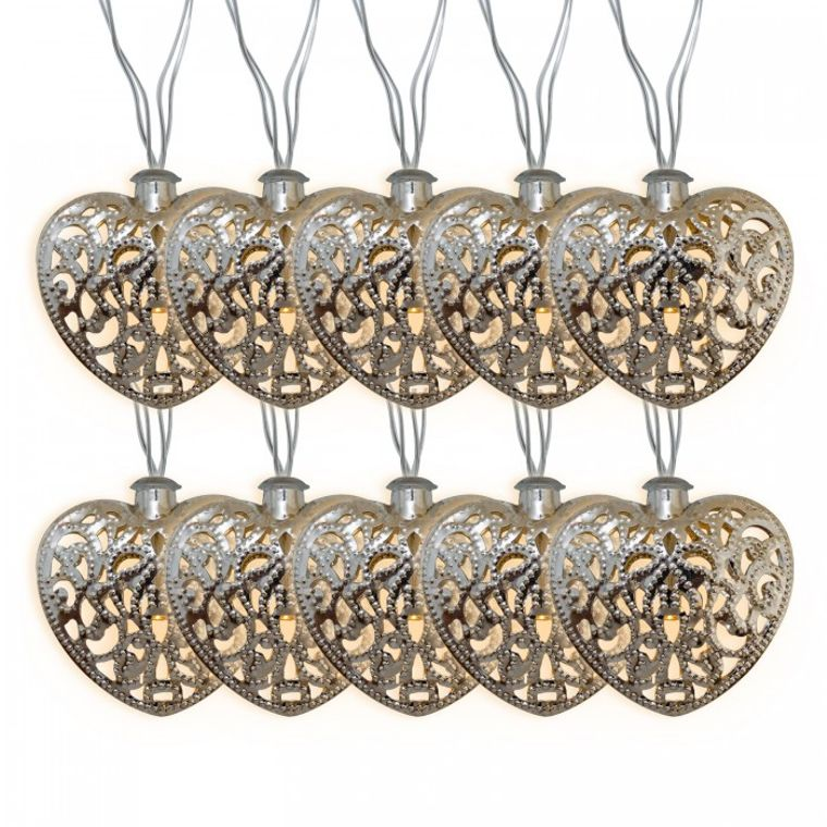 Crystalite Heart - Metal Decorative Solar String Lights