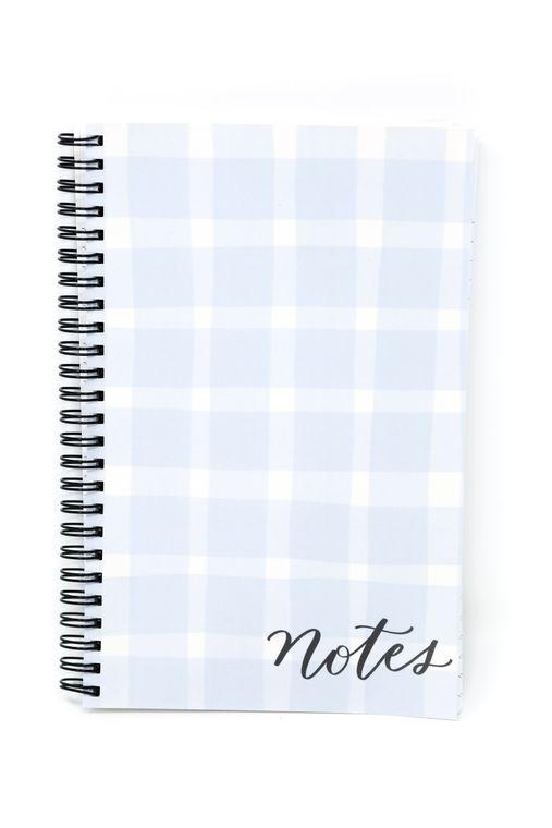 blue gingham notebook