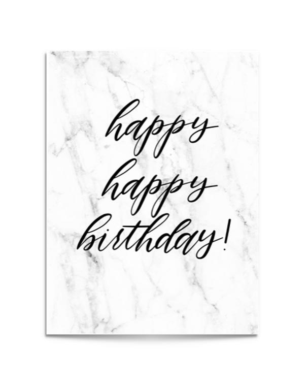 marble happy birthday card