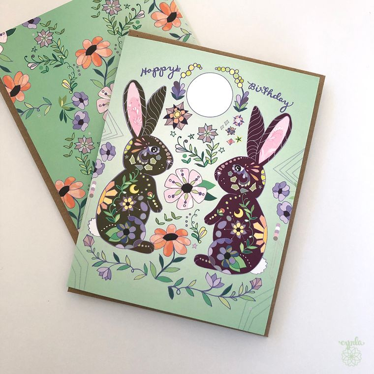 Moon Bunnies Greeting Card - bunny birthday card, bunny card rabbit card, moon, flowers, bunnies