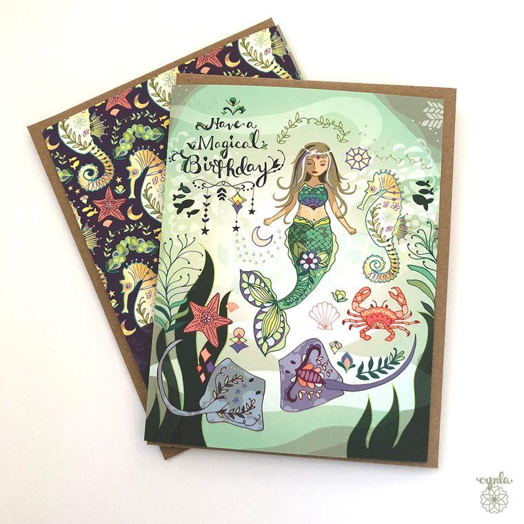 Mermaid Birthday Greeting Card- mermaid, ocean, seahorse, mermaid cards, mermaid life, mermaids greeting cards