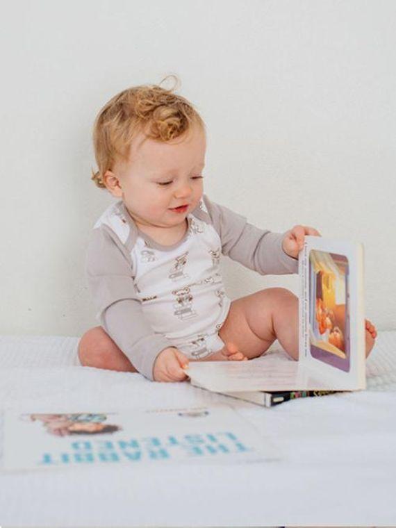 Nerdy Baby: Organic Baby Onesie Bodysuit-Books Print