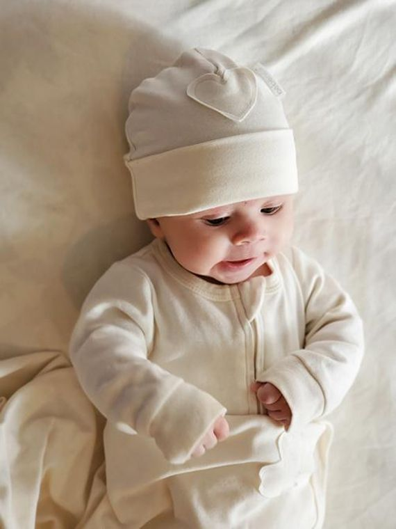 Nature's Hug: Unisex Organic Baby Beanie Hat - Unbleached and Undyed