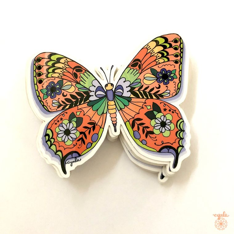 Butterfly Sticker -  monarch, pretty stickers, 3 inch vinyl, water resistant, moth stickers butterflies