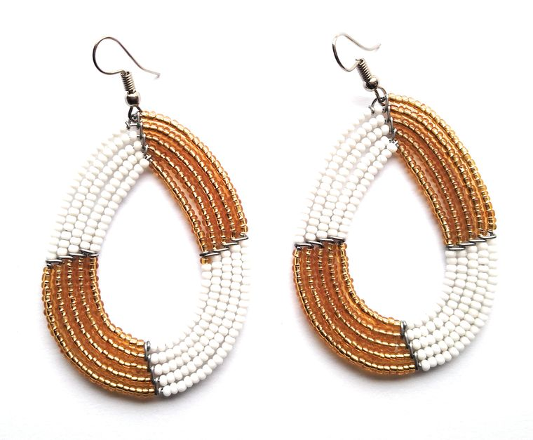 Gold/White Earrings