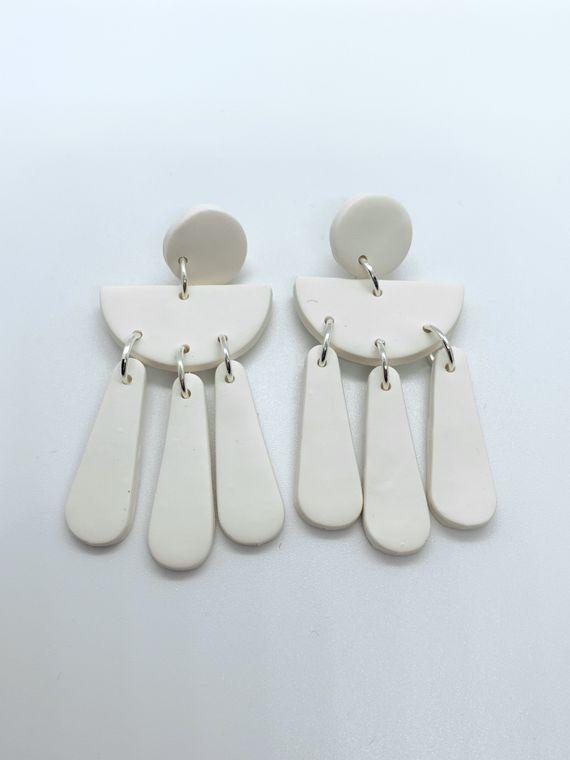 Wildflower Clay Earrings- Ophelia in White