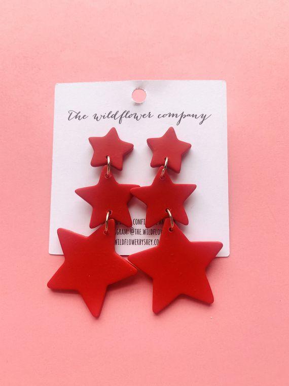 Wildflower Clay Earrings- 3 drop penelope in red