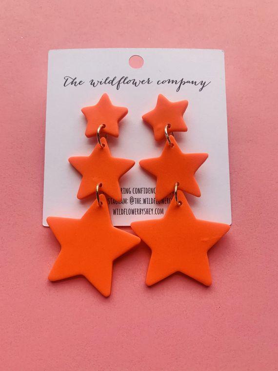 Wildflower Clay Earrings- 3 drop penelope in coral