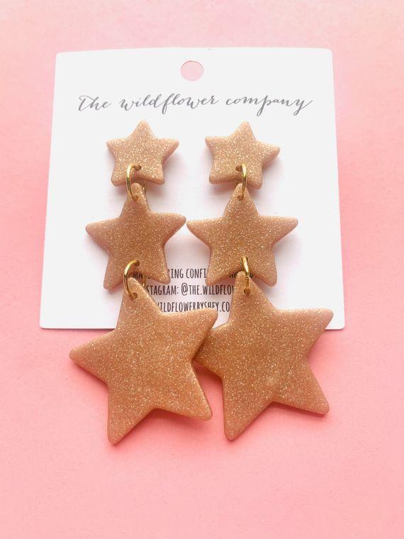 Wildflower Clay Earrings- 3 drop penelope in rose gold