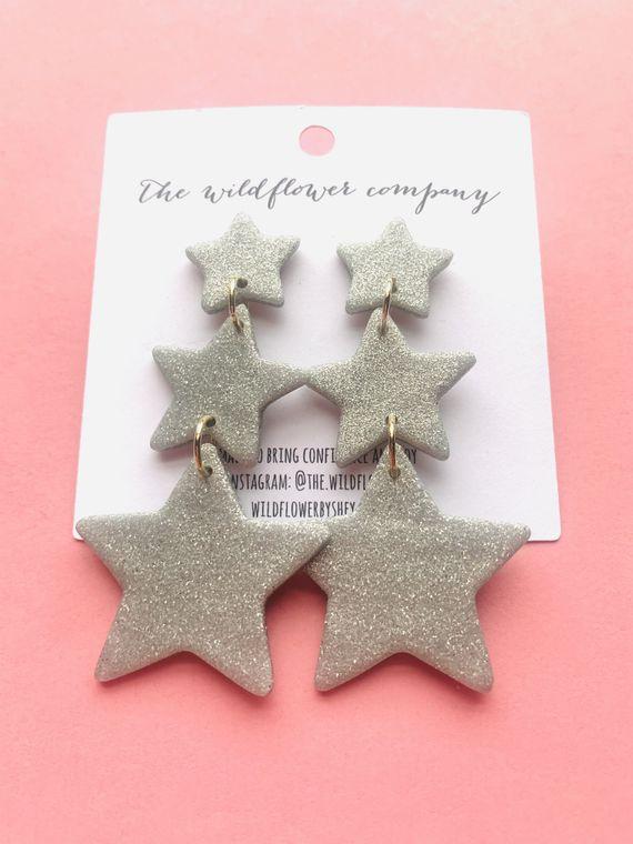 Wildflower Clay Earrings- 3 drop penelope in silver