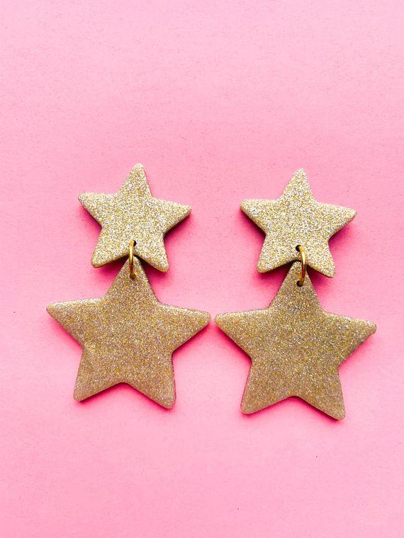 Wildflower Clay Earrings- Penelope in Gold
