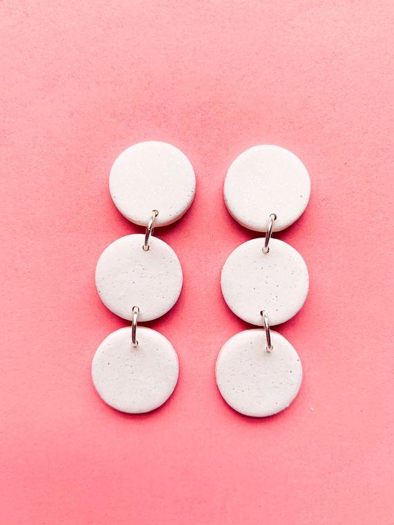 Wildflower Clay Earrings- 3 drop Lawrence in Snow Globe White