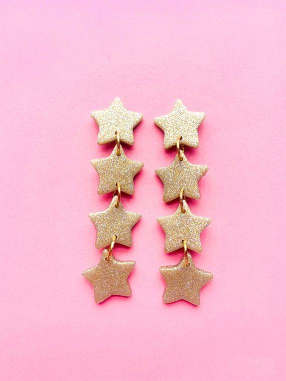 Wildflower Clay Earrings- 4 drop Baby Penelope in Gold